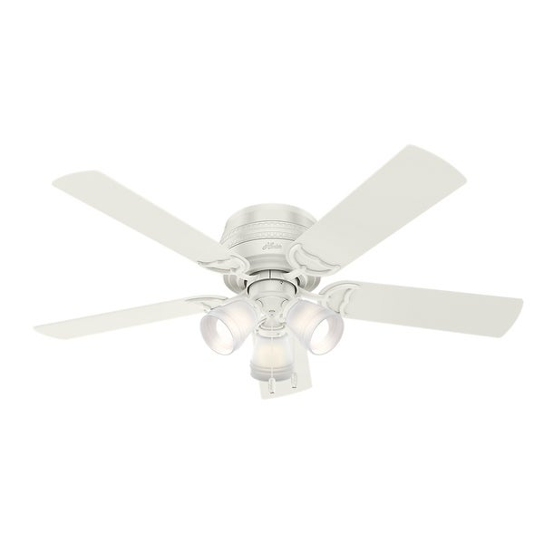 "Hunter Fan 52"" Prim Fresh White w / 5 White / Drift Oak Rev. Blds 29884644"