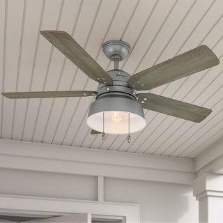 "Hunter Fan 52"" Mill Valley Matte Silver Outdoor w / LED Light, 5 Reversible blades, Pull Chain, Damp rated"