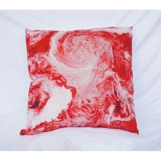 View From Space - Cherry Red - Cotton Throw Pillow 29905296
