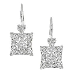 Miadora 10k White Gold and 1/6ct Diamond Dangle Earrings