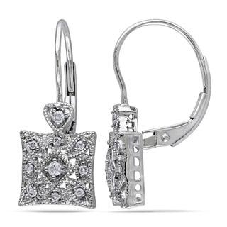 Miadora 10k White Gold and 1/6ct Diamond Dangle Earrings