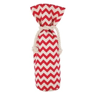 Marketplace: Red & Cream Chevron Wine Sack 29907039