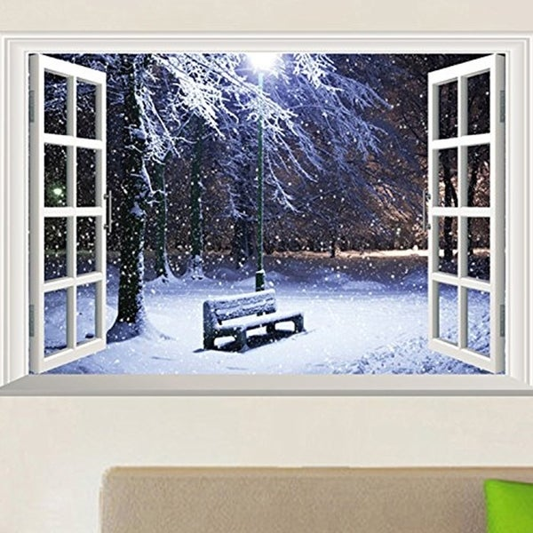 3D Full Color High Definition Snow Winter Bench False Faux Window Frame Window Mural Wall Vinyl 29910319