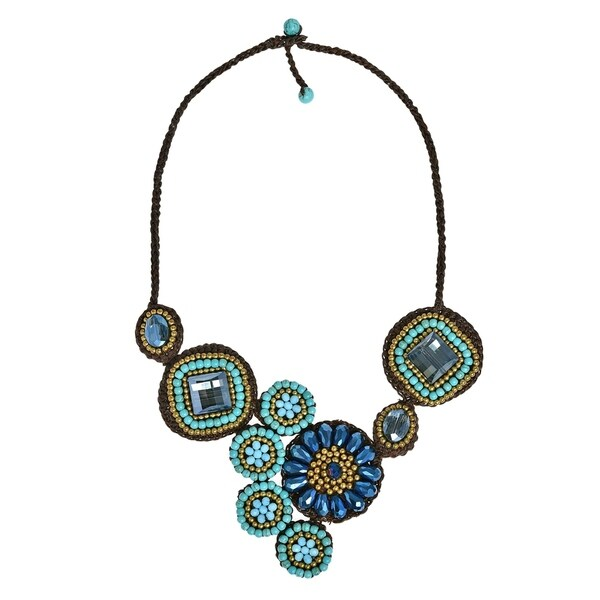 Geometric Floral Turquoise Round Flower Blue Statement Necklace 29912291