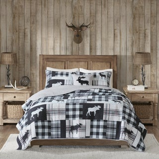 Woolrich Sweetwater Black/ Grey Oversized Printed Quilt Set