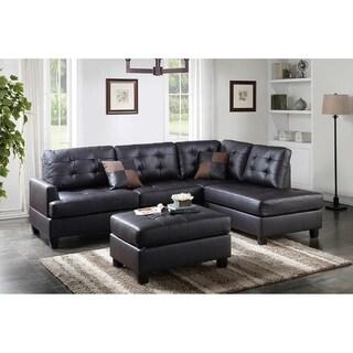 Bobkona 3-PCS Reversible Sectional Sofa w/ Coctail Ottoman