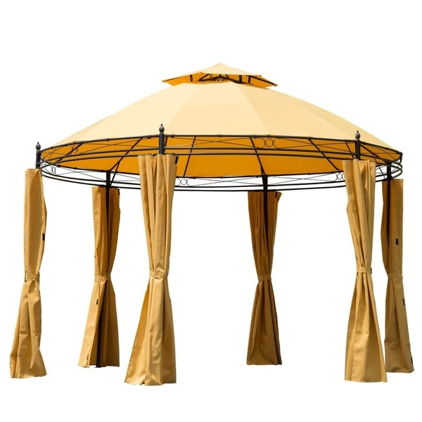 Outsunny 11 ft Round Outdoor Patio Party Gazebo Canopy with Curtains  Orange 29934164