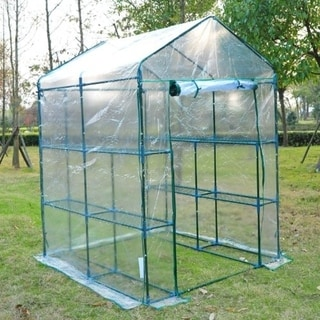 Outsunny 5' x 5' x 6' 3-Tier 8-Shelf Outdoor Portable Walk-In Garden Greenhouse Kit with PE Plastic Cover & a Steel Frame