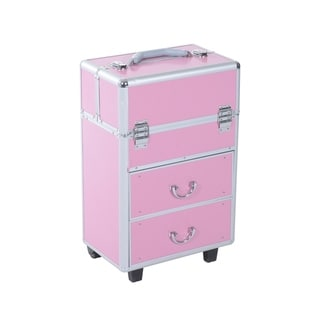 Soozier 4 Tier Lockable Cosmetic Makeup Case with Extendable Trays - Pink