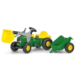 John Deere Kid Tractor w/ Trailer - Green/Yellow