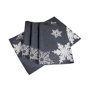 Glisten Snowflake Embroidered Christmas Placemats, 14 by 20-Inch, Set of 4, Grey
