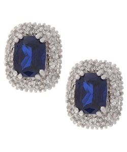 Glitzy Rocks Sterling Silver Ceylon Created Sapphire Earrings