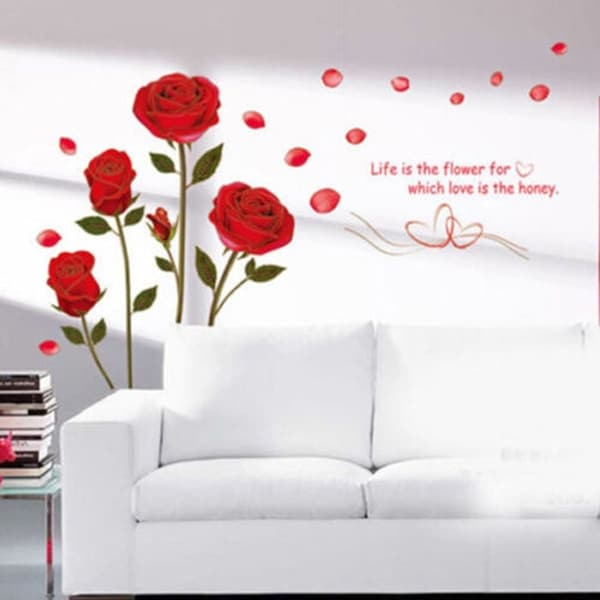 Home Decor Red Rose Wall Decal Mural Removable Flowers Wall Stickers Vinyl Art Wall Vinyl 29953039