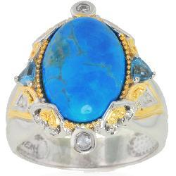 Michael Valitutti Palladium/ Silver/ 18k Vermeil Blue Howlite and Topaz Ring