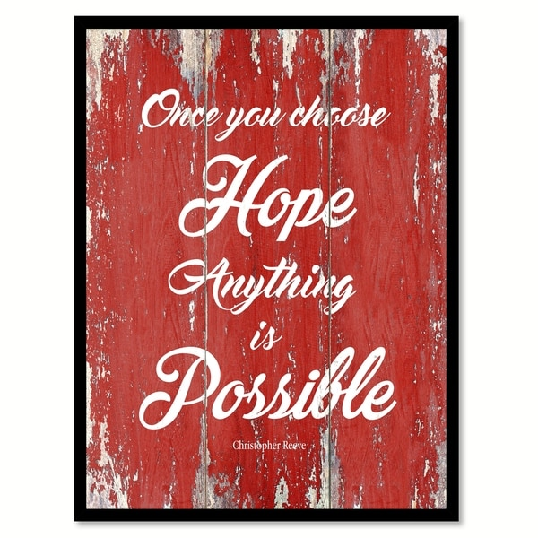 Once You Choose Hope Christopher Reeve Motivation Quote Saying Canvas Print Picture Frame Home Decor Wall Art 29956881