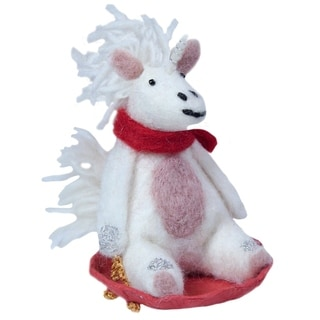 Handmade Sledding Unicorn Felt Ornament (Nepal)
