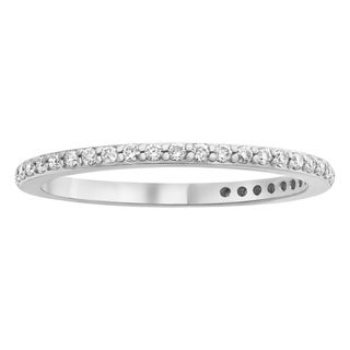 10K White Gold 1/4ct TDW Diamond Classic Anniversary Band Ring by Beverly Hills Charm - White H-I