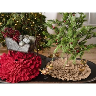 Ruffled Design Jute Christmas Tree Skirt