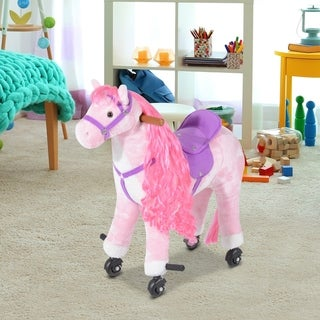 Plush Walking Horse Ride On Toy with Wheels and Realistic Sounds for Girls