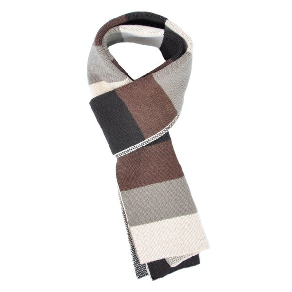 Unisex Soft Knit Tri-Tone Color Block Long Striped Scarf 29972554