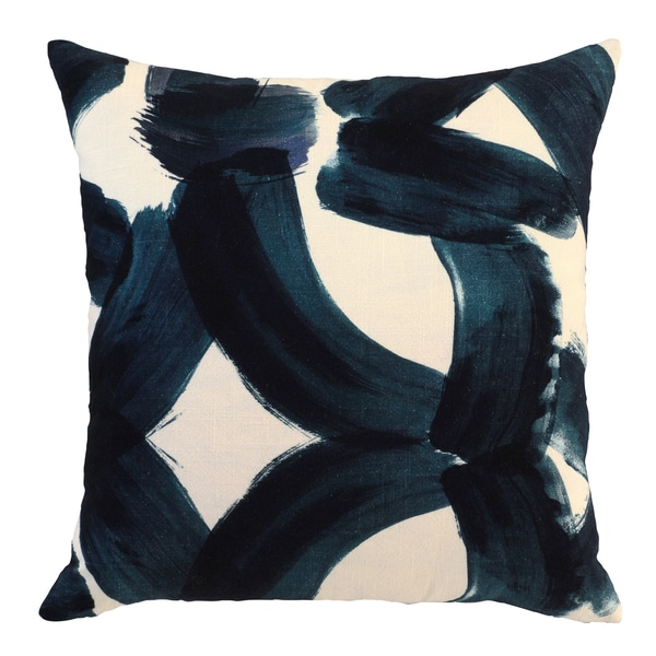 Raye Blue Cotton 22-inch Square Feather Filled Throw Pillow 29977483