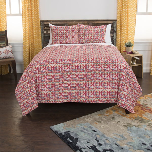 Maddux Place Lilou Red Hand Quilted Cotton Reversible 3-Piece Quilt Set 29983758