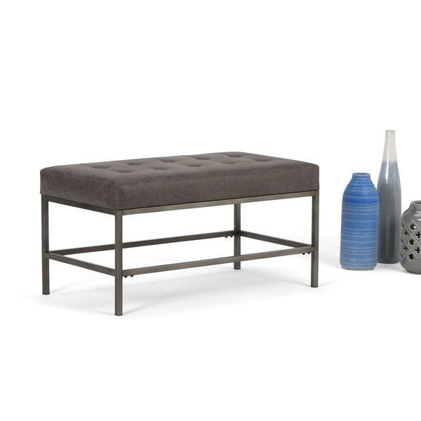 Wyndenhall Seaton Distressed Black Faux-leather Ottoman Bench 29996624