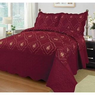 3PC Polyester Bedspread Bed Cover Embroidery Coverlet Quilt Set