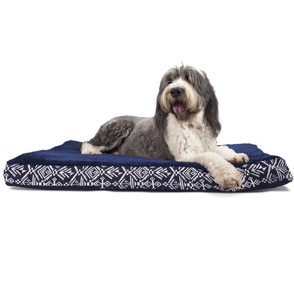 FurHaven Ultra Plush Kilim Patterned Deluxe Orthopedic Pet/ Dog Bed X-Large Size in Pyramid Gray (As Is Item) 30000779