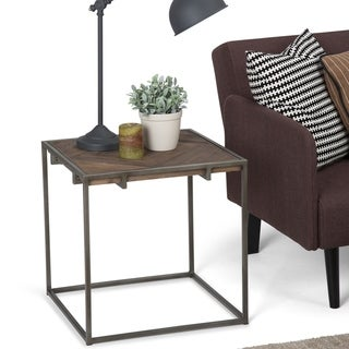 WYNDENHALL Abigail SOLID AGED ELM WOOD and Metal 20 inch Wide Square Modern Industrial End Side Table - 20 W x 20 D x 20 H