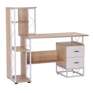 HomCom 52 in Multi Level Computer Workstation Desk Tower Shelves - White / Oak