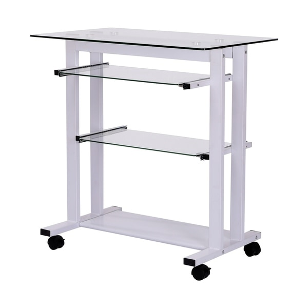 HomCom Glass Top Mobile Home Office Computer Cart Desk 30007010