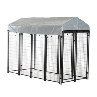 "Pawhut 97""' x 46"" x 72"" Large Outdoor Dog Kennel Galvanized Steel Fence with UV-Resistant Oxford Cloth Roof and Lock"
