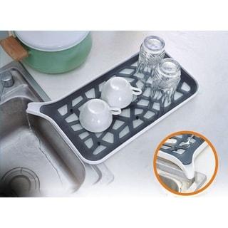 Plastic Self Draining Kitchen Counter Dish Rack Drainer