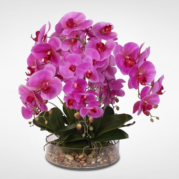 Real Touch Phalaenopsis Purple Orchids in a Glass Bowl with Pebbles 30014996