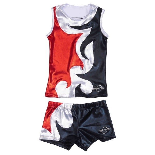 Obersee Cheer Dance Tank and Shorts Set -   Mia Red 30018198