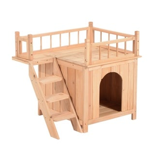 Pawhut Two Story Indoor and Outdoor Wood Cat House Shelter