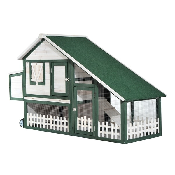 Pawhut Wooden Chicken Coop with Run and Nesting Box 30051735