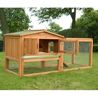Pawhut Outdoor Guinea Pig Pet House and Rabbit Hutch with Run