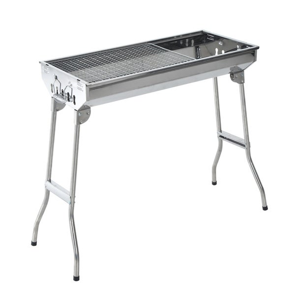 Outsunny Stainless Steel Portable Folding Charcoal BBQ Grill 30051744