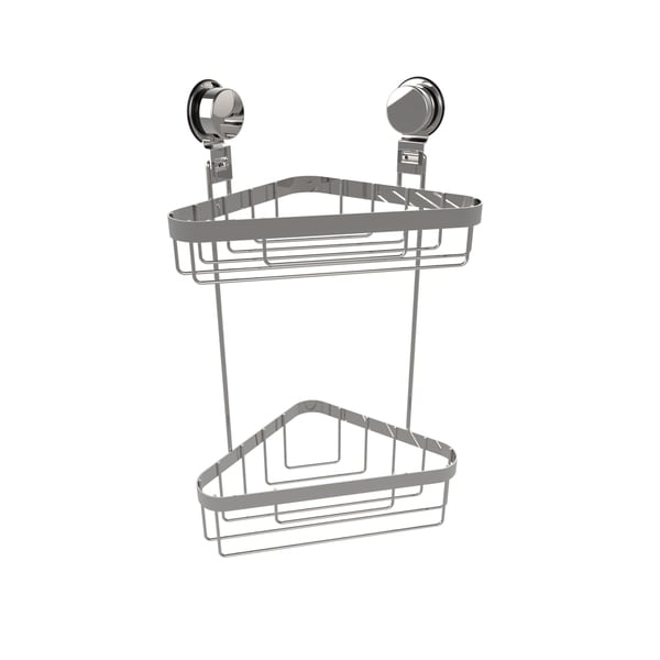 Wall Mounted Two Tier Corner Shower Caddy- Stainless Steel Twist Lock Suction Cups by Windsor Home (As Is Item) 32171192