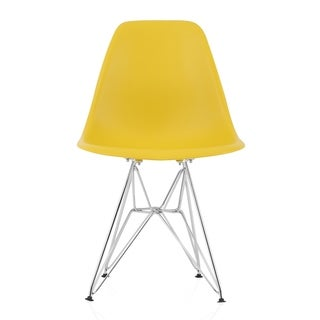 CozyBlock Dark Yellow Molded Plastic Dining Side Chair with Steel Wire Eiffel Legs
