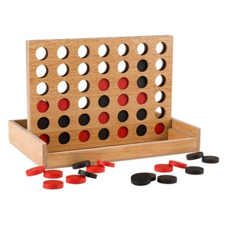 Classic Four in a Row Game Wooden Travel Board Game for Adults, Kids, Boys and Girls by Hey! Play!