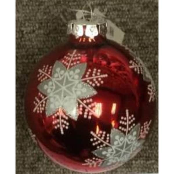 Snowflake Pattern on a Red Glass Ornament Set 30097790