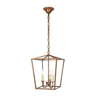 Maddox Collection Pendant D12.5 H18.25 Lt:3 Vintage Gold Finish