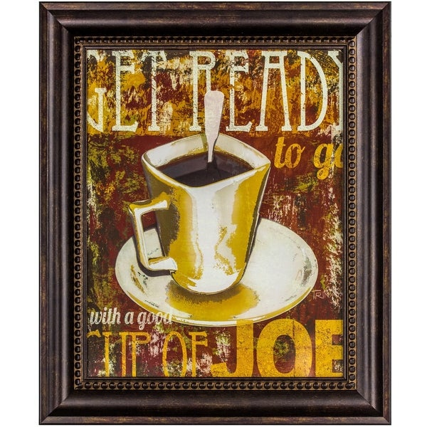 Get Ready with a Good Cup of Joe Framed Coffee Graphic Print Wall Art Decor 30099644