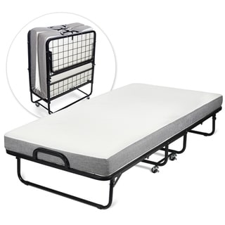 Milliard Diplomat Rollaway Folding Twin Guest Bed with Memory Foam Mattress - gray