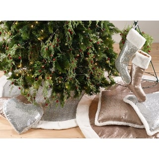 Glittery Sequin with Sherpa Trim Holiday Tree Skirt