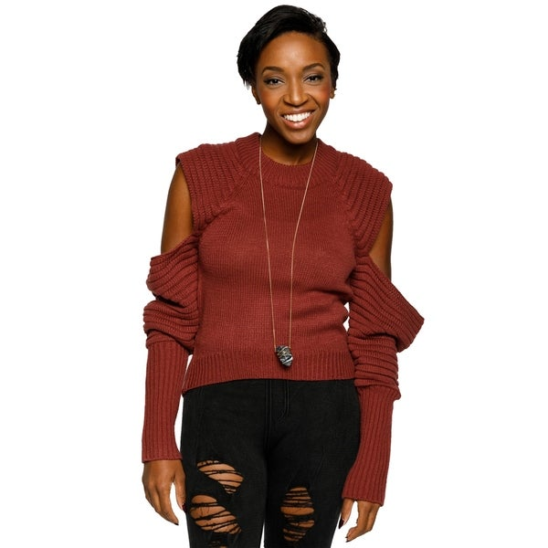 Xehar Womens Cold Shoulder Pullover Ribbed Knit Sweater 30102964