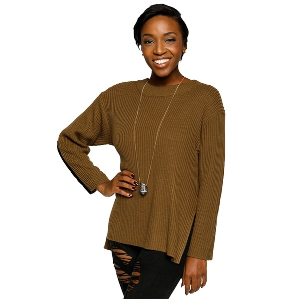 Xehar Womens Round Neck Dolman Sleeve Keyhole Back Sweater 30102988